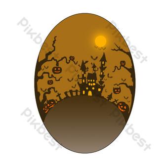 رسمت باليد مشهد هالوين القلعة شفافة أسفل التجارية صور PNG قالب PSD
