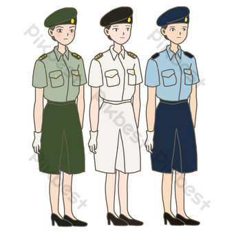 Hand-painted illustrations of female soldiers on national day sea, land and air free element download PNG Images Template PSD
