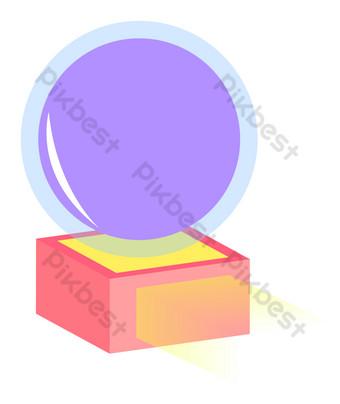 Ручная роспись изометрический фиолетовый хрустальный шар Графические элементы шаблон AI