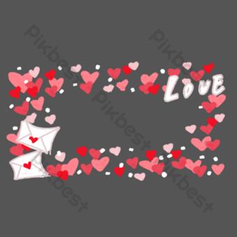 borde de amor pintado a mano Elementos graficos Modelo PSD