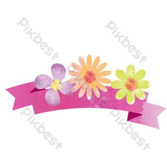 marco decorativo de flores moradas pintadas a mano Elementos graficos Modelo PSD