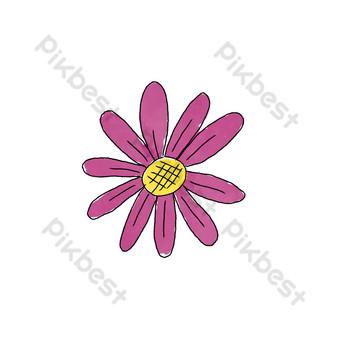 pintado a mano flores moradas vector estambre amarillo Elementos graficos Modelo EPS
