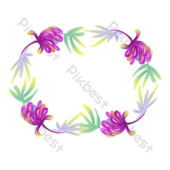 borde floral fresco púrpura pintado a mano Elementos graficos Modelo PSD