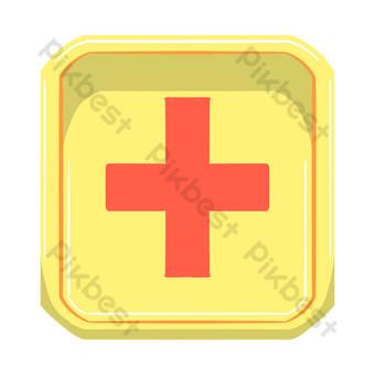 botón de cruz roja pintado a mano Elementos graficos Modelo PSD