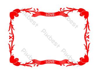borde de amor de patrón de corazón rojo pintado a mano Elementos graficos Modelo PSD
