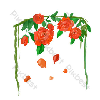 pintado a mano rosa roja flor vector elementos frescos Elementos graficos Modelo PSD