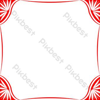手繪簡約中國紅文藝清新邊框透明底png插畫 元素 模板 PSD