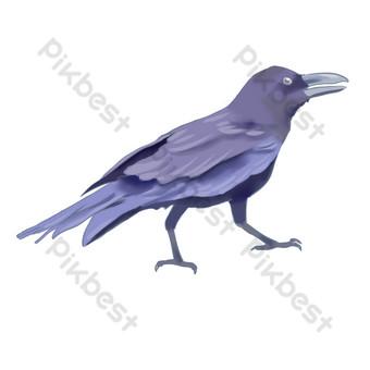 serie de acuarela pintada a mano cuervo estilo realista Elementos graficos Modelo PSD