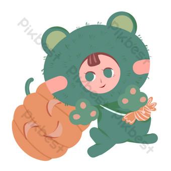 手繪防風面具萬聖節青蛙木偶插畫裝飾 元素 模板 PSD