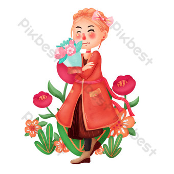 Hand painted women's day received flowers png illustration PNG Images Template PSD