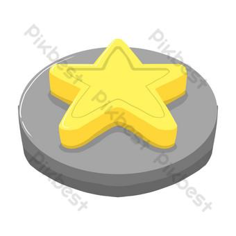手繪黃五星按鈕 元素 模板 PSD