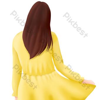 手繪黃色裙子文藝少女插畫人物 元素 模板 PSD