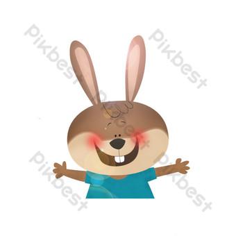 رقص سعيد عنصر الكرتون الأرنب الرمادي صور PNG قالب PSD