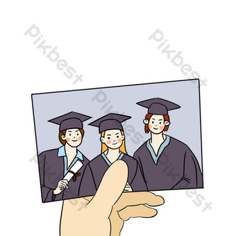 Happy group photo of men and women in bachelor uniforms during graduation season PNG Images Template PSD