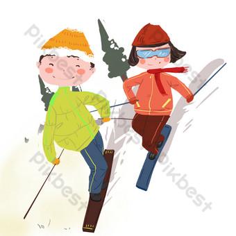 feliz fin de semana esquí en la nieve Elementos graficos Modelo PSD