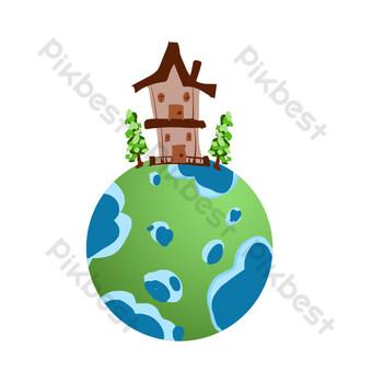 التوضيح المنزل على الأرض صور PNG قالب PSD