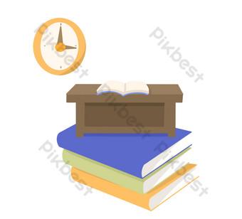 دفاتر الواجبات المنزلية والساعات صور PNG قالب PSD