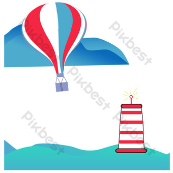 Hot air balloon flying over the seaside lighthouse PNG Images Template PSD
