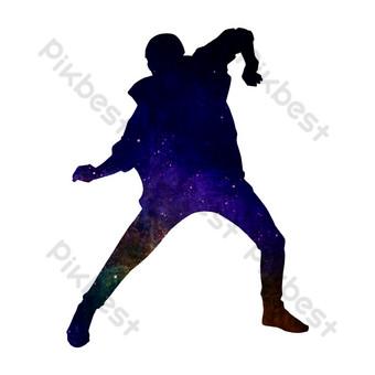 熱舞派對舞蹈剪影 元素 模板 PSD