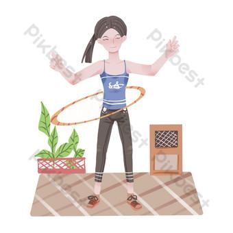 فتاة اللياقة البدنية حولا هوب صور PNG قالب PSD