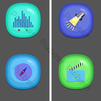 color helado jalea estéreo conjunto completo de icono de teléfono móvil de apple creativo formato png Elementos graficos Modelo PSD