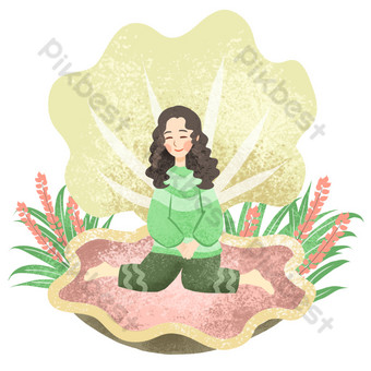 Illustration of a girl sitting in a seashell PNG Images Template PSD