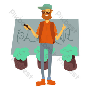 Illustration of a reporter serving the people PNG Images Template PSD
