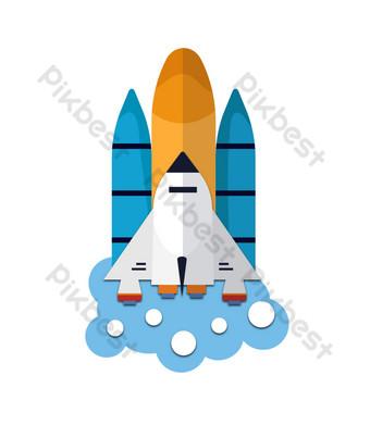 Ilustración de una nave espacial despegando. Elementos graficos Modelo PSD