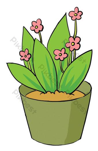 بيئة منزلية داخلية تعيش في النباتات الخضراء بوعاء الزهور صور PNG قالب PSD