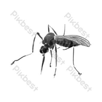 水墨水彩中國風蚊子 元素 模板 PSD