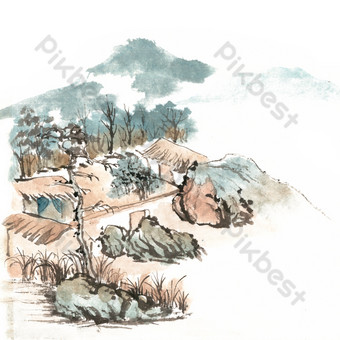 Ink painting ancient mountain dwelling PNG Images Template PSD