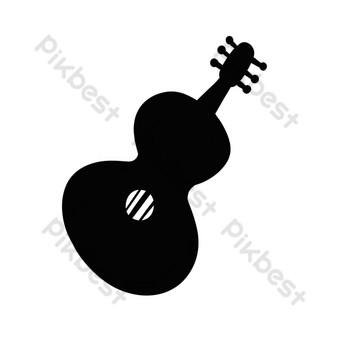 gitar hitam dan putih yang dilukis dengan tangan kelas instrumen Elemen Grafis Templat PSD