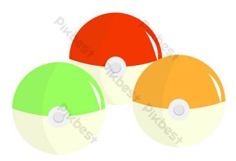 Изометрическая красивая иллюстрация шара спрайта Графические элементы шаблон PSD
