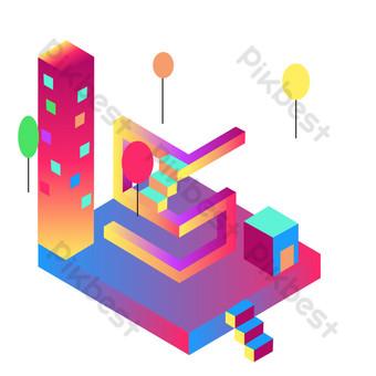изометрическая красочная и великолепная футуристическая сцена городского строительства на воздушном шаре Графические элементы шаблон AI