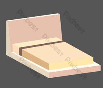 изометрическая розовая кровать мебель иллюстрация Графические элементы шаблон AI