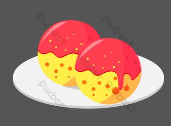 Изометрические красный желтый кремовый шар иллюстрация Графические элементы шаблон AI
