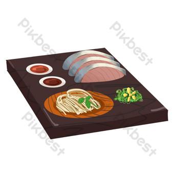 日本美食烏冬面和三文魚 元素 模板 PSD