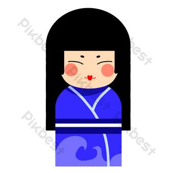 اليابانية كيمونو امرأة صور PNG قالب PSD