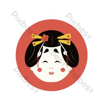 ماكياج امرأة يابانية التوضيح صور PNG قالب PSD
