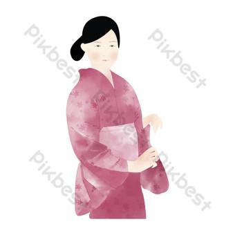 امرأة يابانية ترتدي ثوب الكيمونو الوردي صور PNG قالب PSD