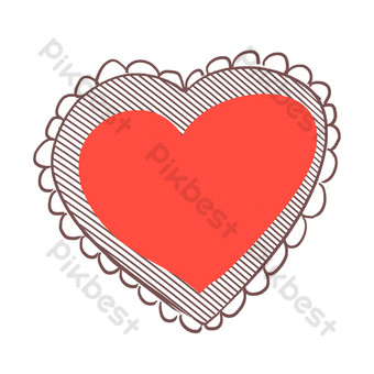 ilustración de corazón rojo de amor de encaje Elementos graficos Modelo PSD