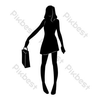 silueta de mujer de compras Elementos graficos Modelo PSD