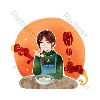 festival lentera gadis gaya cat air hangat merah makan festival lentera digambar tangan kartun png Elemen Grafis Templat PSD
