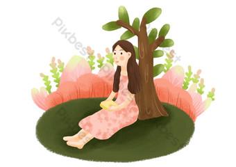 aprendiendo debajo del árbol niña sosteniendo libros pequeño estilo fresco lindo Elementos graficos Modelo PSD