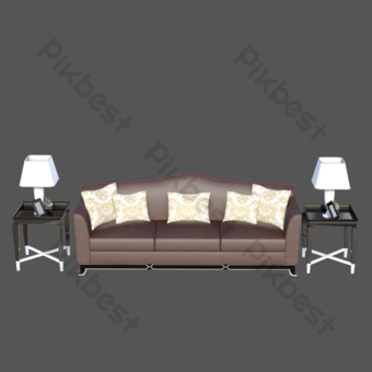 أريكة جلدية ومصباح طاولة إضاءة صور PNG قالب PSD