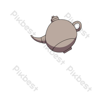 Light color hand-drawn style teapot pouring tea PNG Images Template PSD
