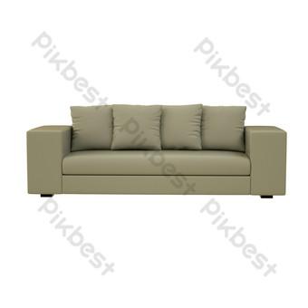 أريكة جلدية خفيفة متعددة المقاعد صور PNG قالب C4D