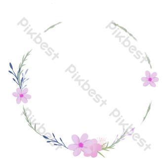 flores de color púrpura claro y borde de corona de hierba Elementos graficos Modelo PSD