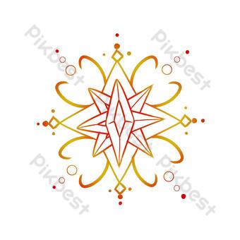 línea decoracion patrón arco copo de nieve Elementos graficos Modelo PSD