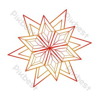 patrón de decoración de línea hermoso copo de nieve Elementos graficos Modelo PSD